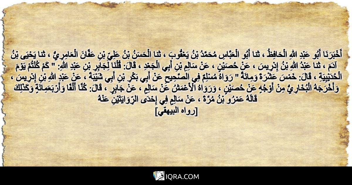 """أَخْبَرَنَا أَبُو عَبْدِ اللهِ الْحَافِظُ ، ثنا أَبُو الْعَبَّاسِ مُحَمَّدُ بْنُ يَعْقُوبَ ، ثنا الْحَسَنُ بْنُ عَلِيِّ بْنِ عَفَّانَ الْعَامِرِيُّ ، ثنا يَحْيَى بْنُ آدَمَ ، ثنا عَبْدُ اللهِ بْنُ إِدْرِيسَ ، عَنْ حُصَيْنٍ ، عَنْ سَالِمِ بْنِ أَبِي الْجَعْدِ ، قَالَ: قُلْنَا لِجَابِرِ بْنِ عَبْدِ اللهِ: """" كَمْ كُنْتُمْ يَوْمَ الْحُدَيْبِيَةِ ، قَالَ: خَمْسَ عَشْرَةَ وَمِائَةً """" رَوَاهُ مُسْلِمٌ فِي الصَّحِيحِ عَنْ أَبِي بَكْرِ بْنِ أَبِي شَيْبَةَ ، عَنْ عَبْدِ اللهِ بْنِ إِدْرِيسَ ، وَأَخْرَجَهُ الْبُخَارِيُّ مِنْ أَوْجُهٍ عَنْ حُصَيْنٍ ، وَرَوَاهُ الْأَعْمَشُ عَنْ سَالِمٍ ، عَنْ جَابِرٍ ، قَالَ: كُنَّا أَلْفًا وَأَرْبَعَمِائَةٍ وَكَذَلِكَ قَالَهُ عَمْرُو بْنُ مُرَّةَ ، عَنْ سَالِمٍ فِي إِحْدَى الرِّوَايَتَيْنِ عَنْهُ <br> [رواه البيهقي]"""