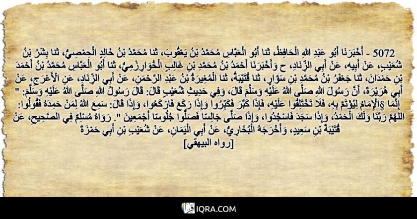 """5072 - أَخْبَرَنَا أَبُو عَبْدِ اللهِ الْحَافِظُ، ثنا أَبُو الْعَبَّاسِ مُحَمَّدُ بْنُ يَعْقُوبَ، ثنا مُحَمَّدُ بْنُ خَالِدٍ الْحِمْصِيُّ، ثنا بِشْرُ بْنُ شُعَيْبٍ، عَنْ أَبِيهِ، عَنْ أَبِي الزِّنَادِ، ح وَأَخْبَرَنَا أَحْمَدُ بْنُ مُحَمَّدِ بْنِ غَالِبٍ الْخُوَارِزْمِيُّ، ثنا أَبُو الْعَبَّاسِ مُحَمَّدُ بْنُ أَحْمَدَ بْنِ حَمْدَانَ، ثنا جَعْفَرُ بْنُ مُحَمَّدِ بْنِ سَوَّارٍ، ثنا قُتَيْبَةُ، ثنا الْمُغِيرَةُ بْنُ عَبْدِ الرَّحْمَنِ، عَنْ أَبِي الزِّنَادِ، عَنِ الْأَعْرَجِ، عَنْ أَبِي هُرَيْرَةَ، أَنَّ رَسُولَ اللهِ صَلَّى اللهُ عَلَيْهِ وَسَلَّمَ قَالَ، وَفِي حَدِيثِ شُعَيْبٍ قَالَ: قَالَ رَسُولُ اللهِ صَلَّى اللهُ عَلَيْهِ وَسَلَّمَ: """" إِنَّمَا §الْإِمَامُ لِيُؤْتَمَّ بِهِ، فَلَا تَخْتَلِفُوا عَلَيْهِ، فَإِذَا كَبَّرَ فَكَبِّرُوا وَإِذَا رَكَعَ فَارْكَعُوا، وَإِذَا قَالَ: سَمِعَ اللهُ لِمَنْ حَمِدَهُ فَقُولُوا: اللهُمَّ رَبَّنَا وَلَكَ الْحَمْدُ، وَإِذَا سَجَدَ فَاسْجُدُوا، وَإِذَا صَلَّى جَالِسًا فَصَلُّوا جُلُوسًا أَجْمَعِينَ """". رَوَاهُ مُسْلِمٌ فِي الصَّحِيحِ، عَنْ قُتَيْبَةَ بْنِ سَعِيدٍ، وَأَخْرَجَهُ الْبُخَارِيُّ، عَنْ أَبِي الْيَمَانِ، عَنْ شُعَيْبِ بْنِ أَبِي حَمْزَةَ <br> [رواه البيهقي]"""