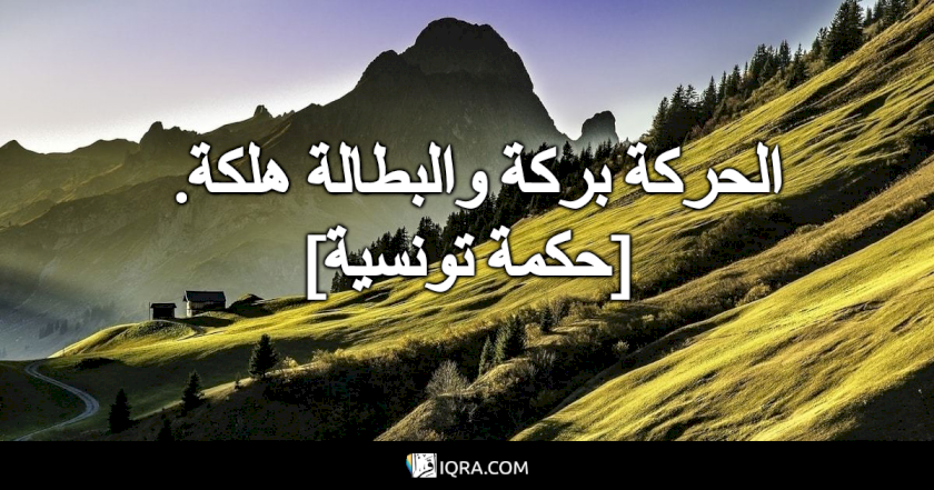 الحركة بركة والبطالة هلكة. <br> [حكمة تونسية]